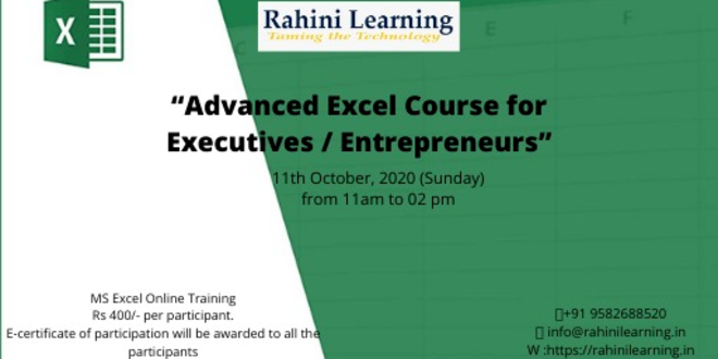 """""""Live Advanced Excel Course for Executives / Entrepreneurs"""" on 11 October from 11 am to 2 pm"""
