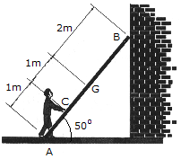 A 17-kg ladder has a center of mass at G. If the coef...