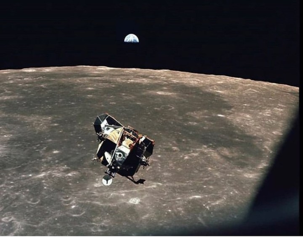 This picture is taken by Michael Collins while orbirt...