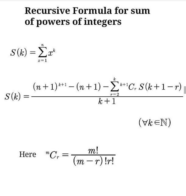Recursive Formula for sum of power of Integers.