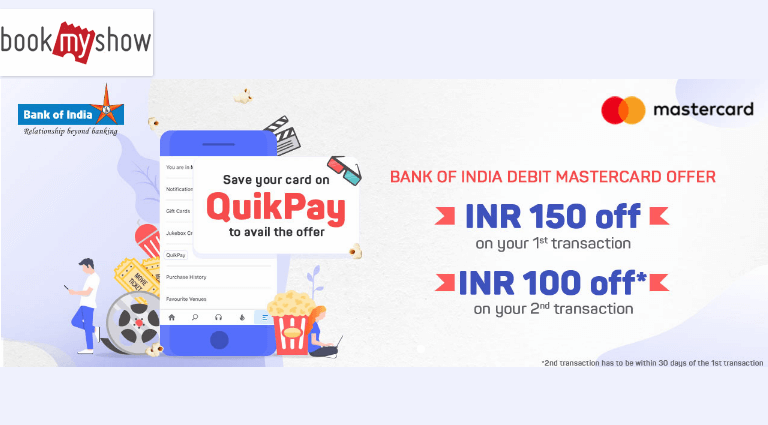 book my show bank of india debit mastercard offer