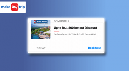 makemytrip hotels hdfc back card deals