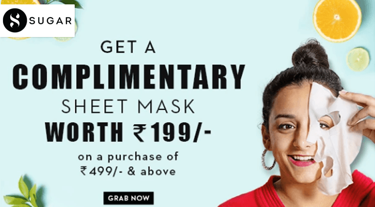 sugar cosmetics complimentary sheet mask