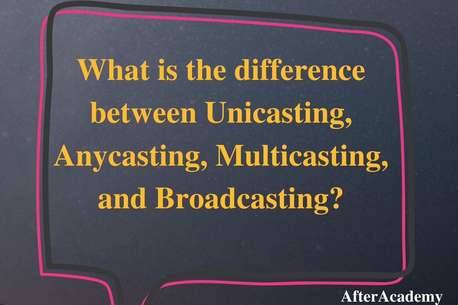 What is the difference between Unicasting, Anycasting, Multicasting, and Broadcasting?