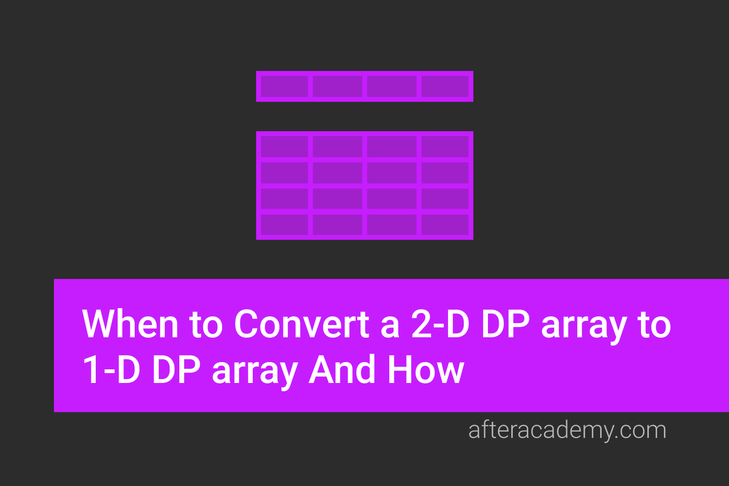 When to Convert a 2-D DP array to 1-D DP array And How?
