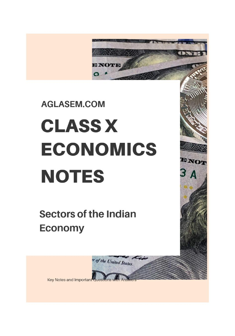 Class 10 Social Science (Economics) Sectors of the Indian Economy Notes, Important Questions & Practice Paper