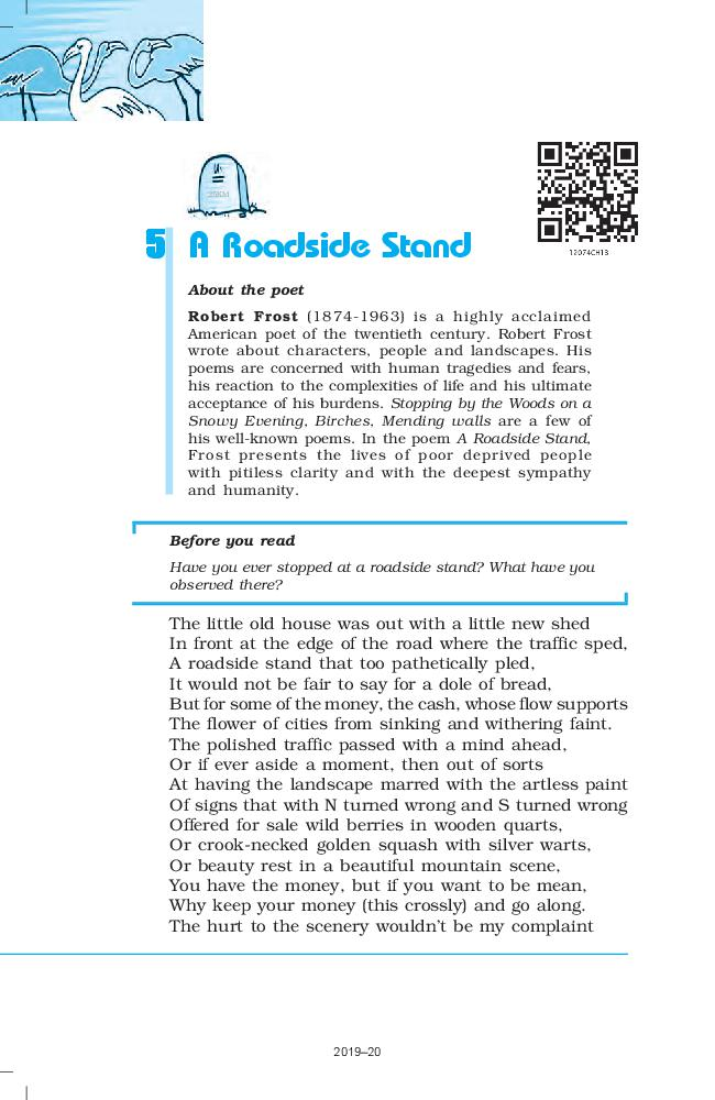 NCERT Book Class 12 English Flamingo Poetry 5 A Roadside Stand