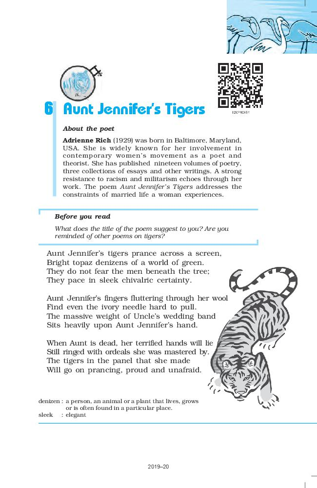 NCERT Book Class 12 English Flamingo Poetry 6 Aunt Jennifer's Tigers