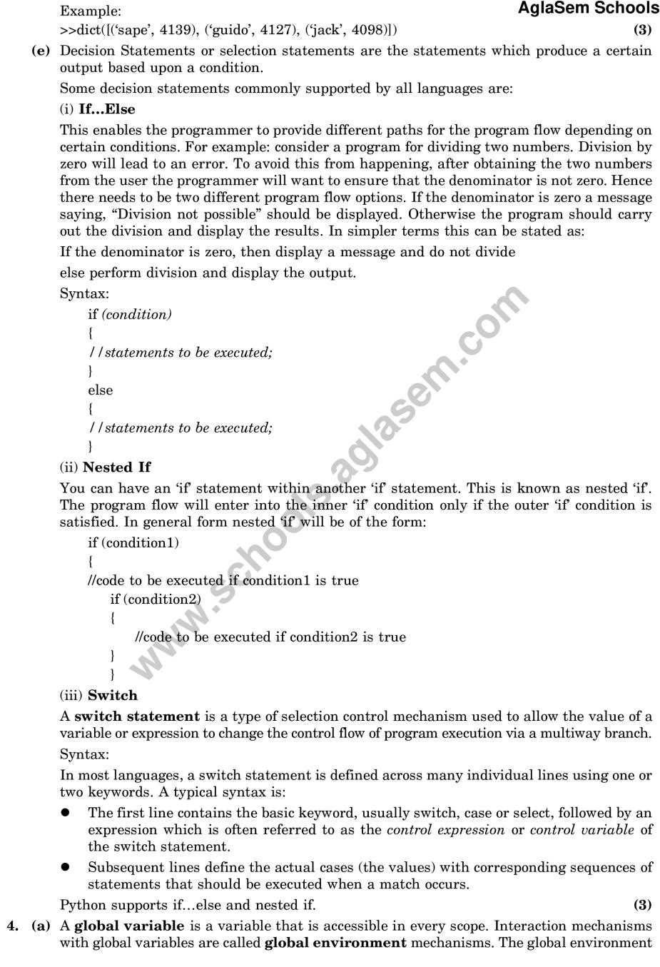 CBSE Sample Paper for Class 11 Computer Science (Solved) – Set B