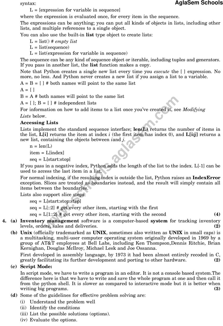 CBSE Sample Paper for Class 11 Computer Science (Solved) – Set D