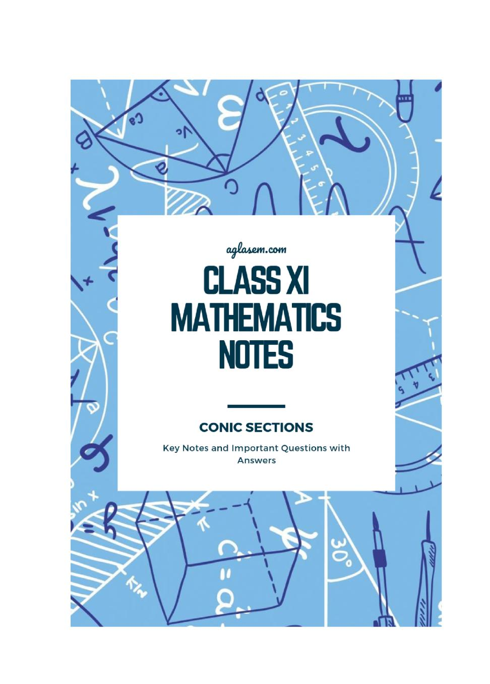 Class 11 Maths Notes for Conic Sections