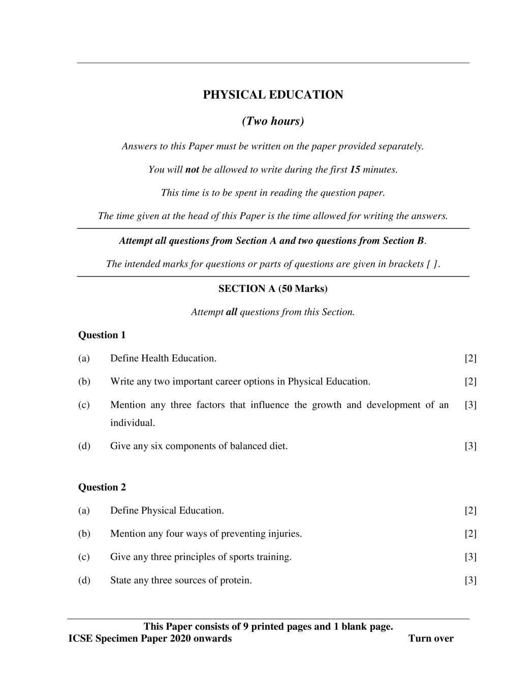 ICSE Class 10 Physical Education Sample Paper 2020 - 2021