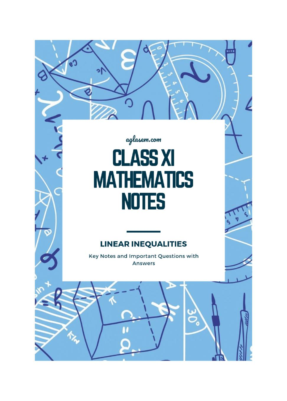 Class 11 Maths Notes for Linear Inequalities