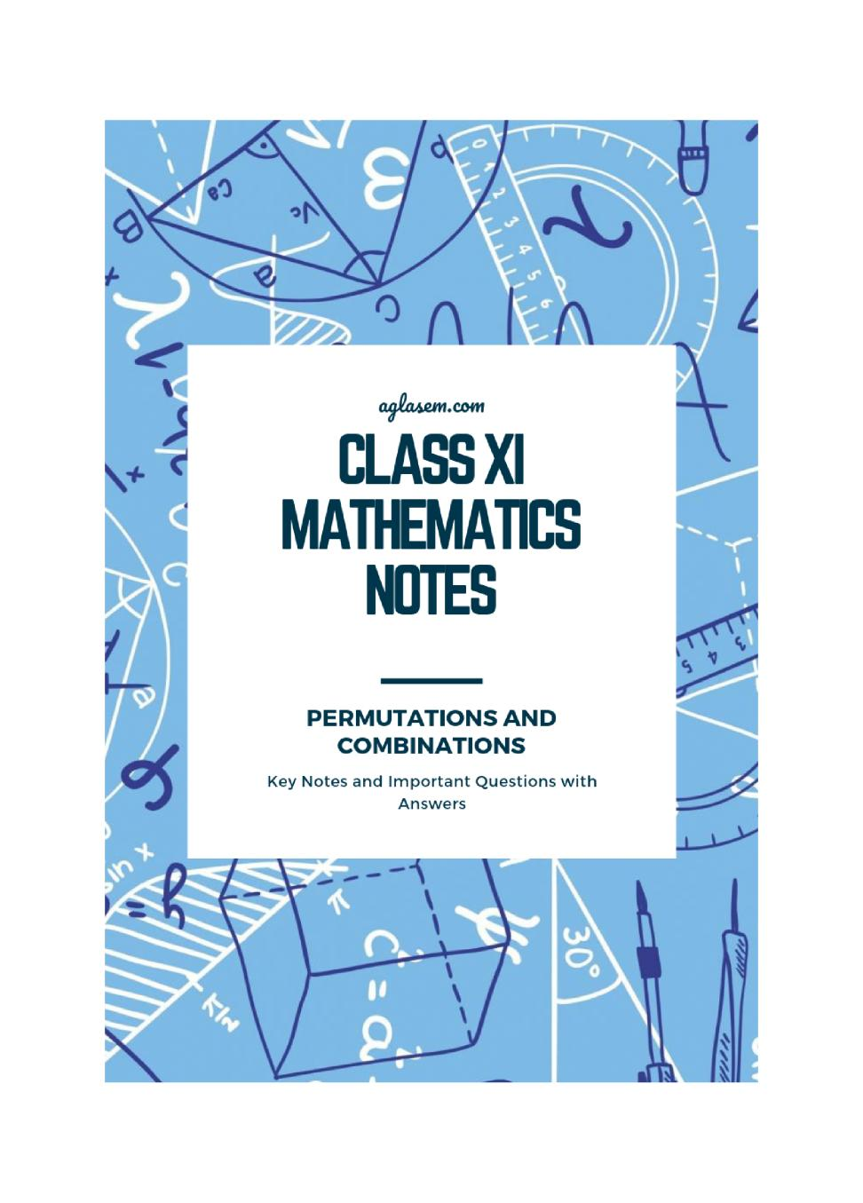 Class 11 Maths Notes for Permutations and Combinations