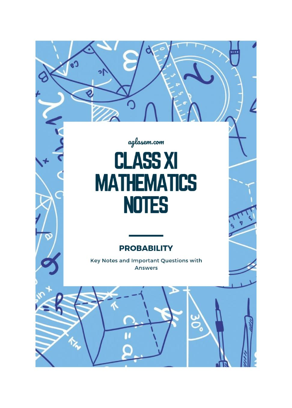 Class 11 Maths Notes for Probability