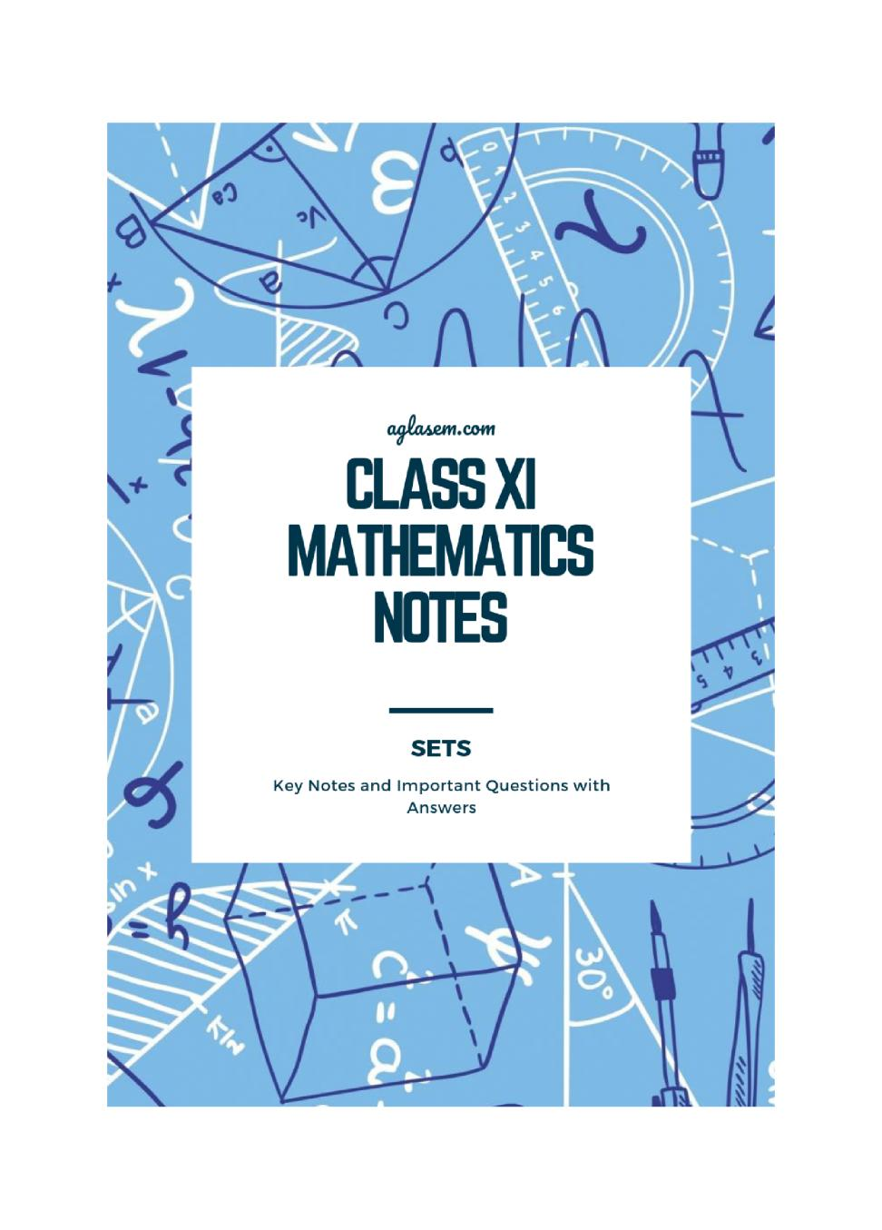 Class 11 Maths Notes for Sets