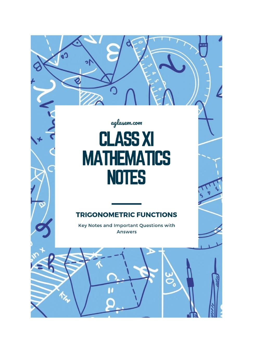 Class 11 Maths Notes for Trigonometric Functions