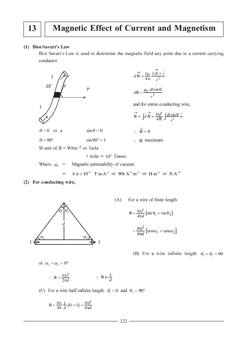 JEE NEET Physics Question Bank for Magnetic Effects of Current and Magnetism