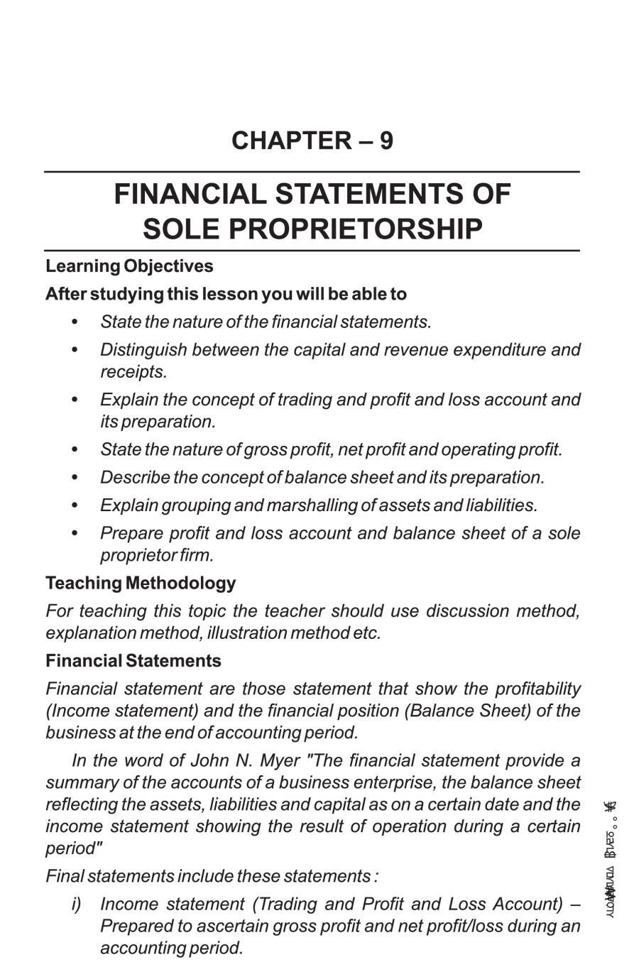 Class 11 Accountancy – Financial Statement of Sole