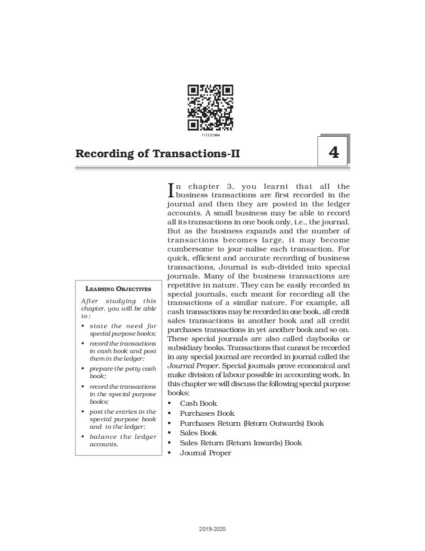 NCERT Book Class 11 Accountancy Chapter 4 – Recording of Transactions-II