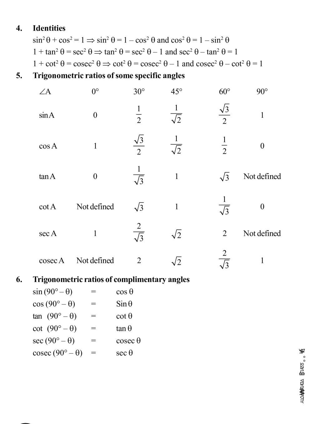 Class 10 Math Introduction to Trigonometry Notes, Important