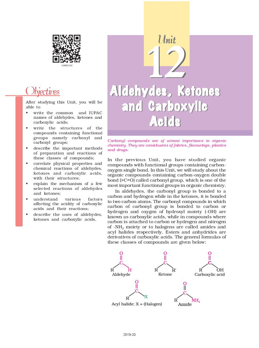 NCERT Book Class 12 Chemistry Chapter 12 Aldehydes, Ketones and Carboxylic Acids