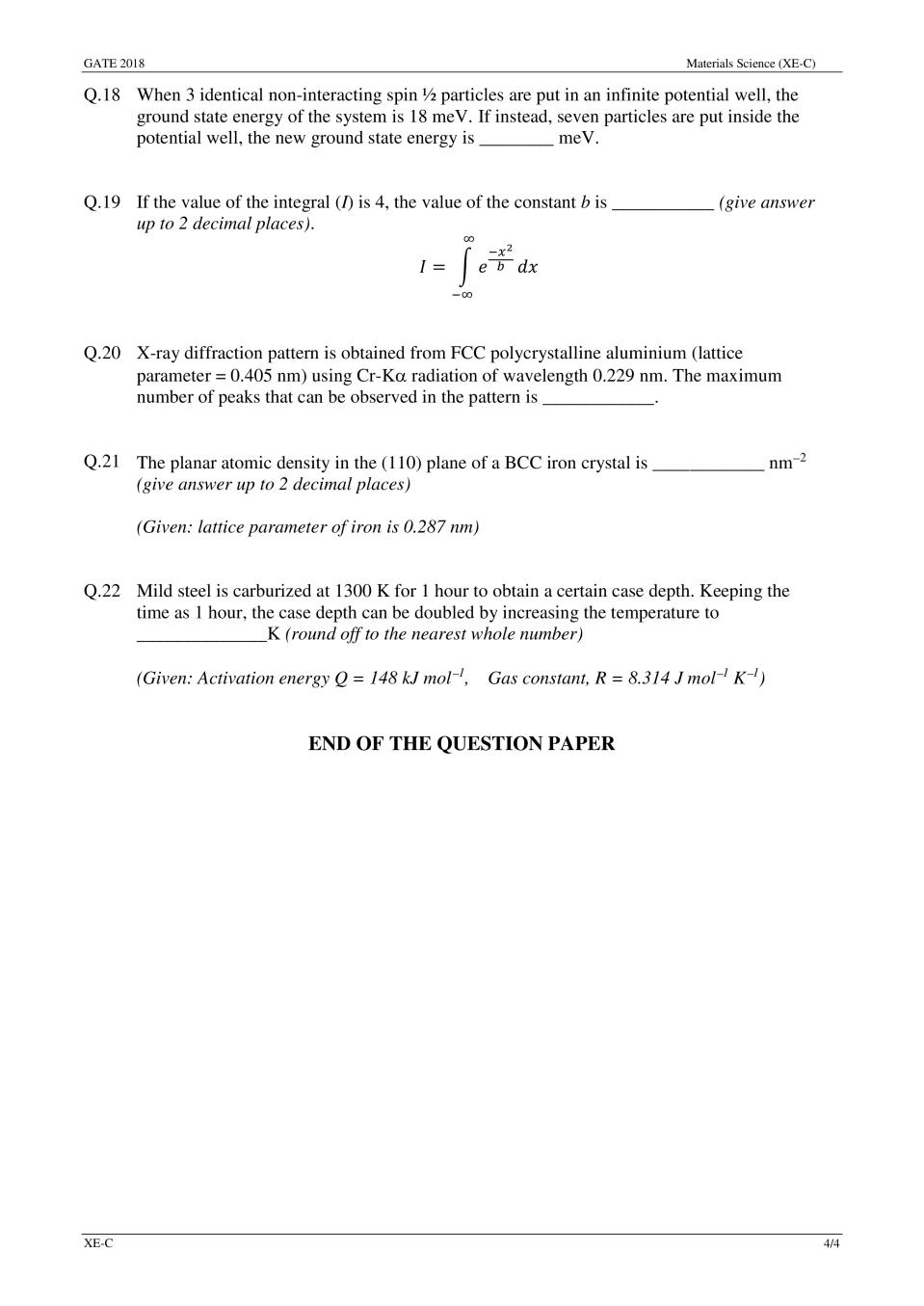 GATE 2018 Materials Science (XE-C) Question Paper with Answer