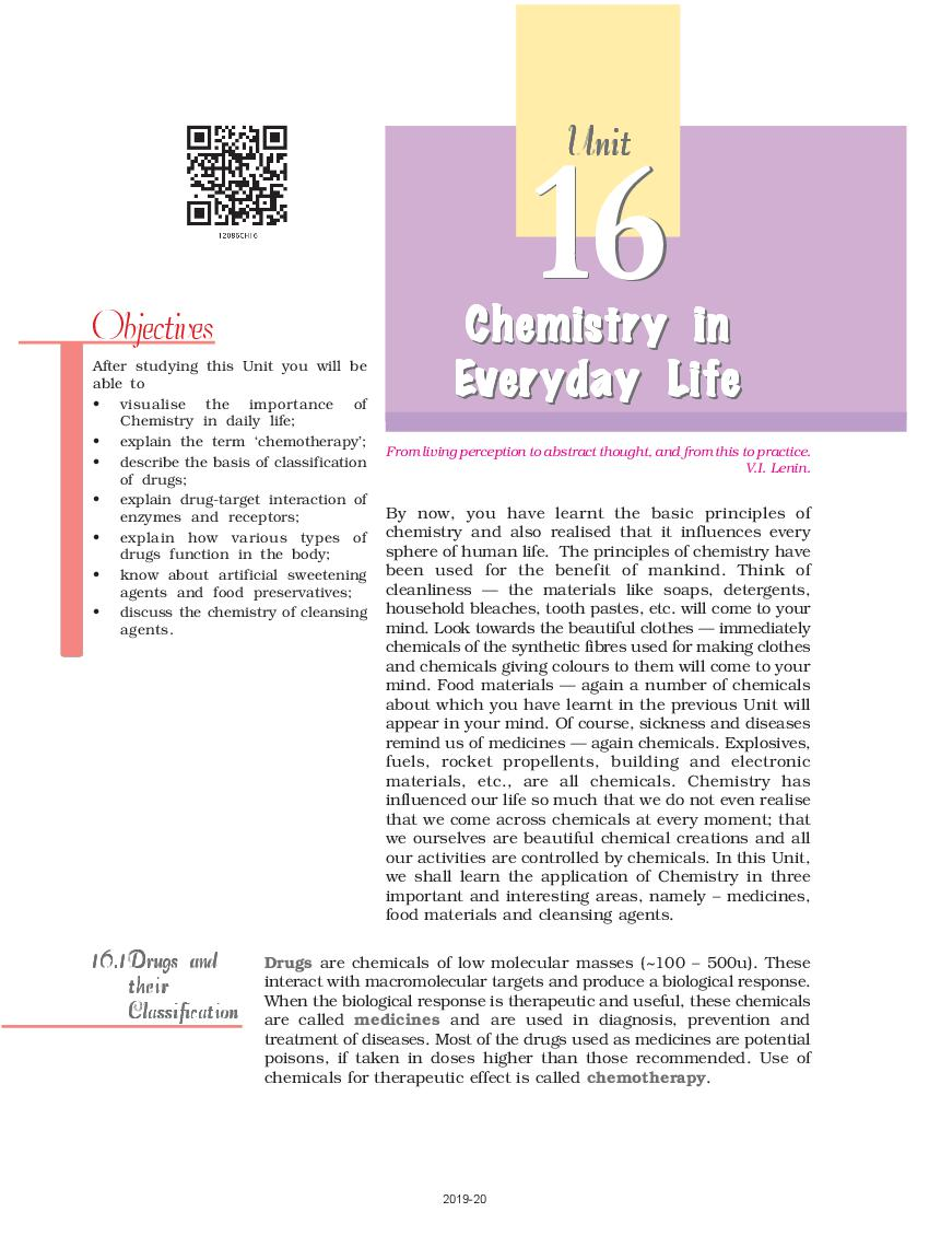 NCERT Book Class 12 Chemistry Chapter 16 Chemistry in Everyday Life