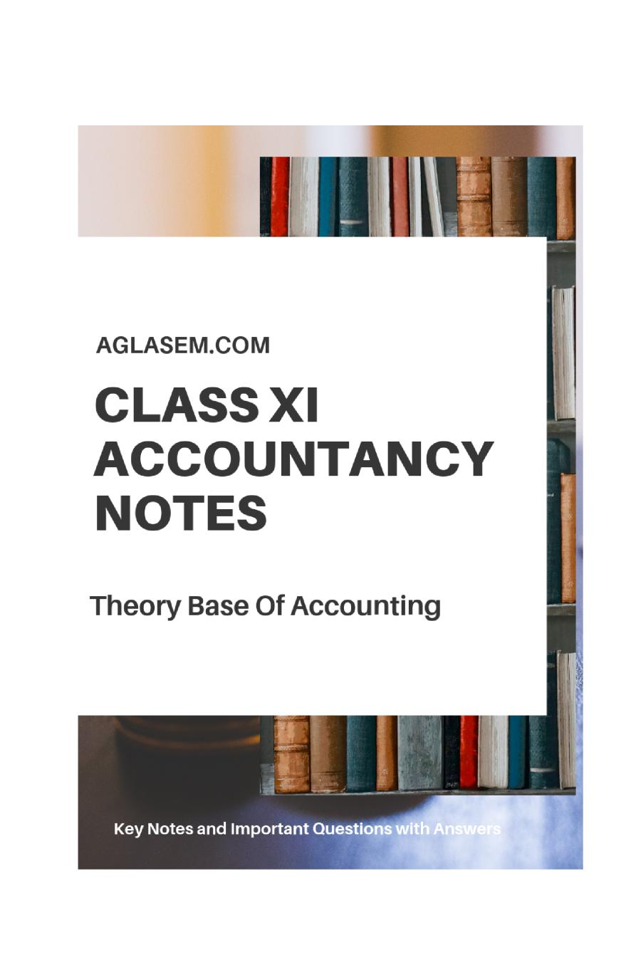 Class 11 Accountancy – Theory Base Accounting Notes, Important Questions & Practice Paper