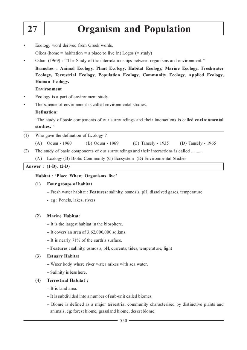 NEET Biology Question Bank for Organism and Population