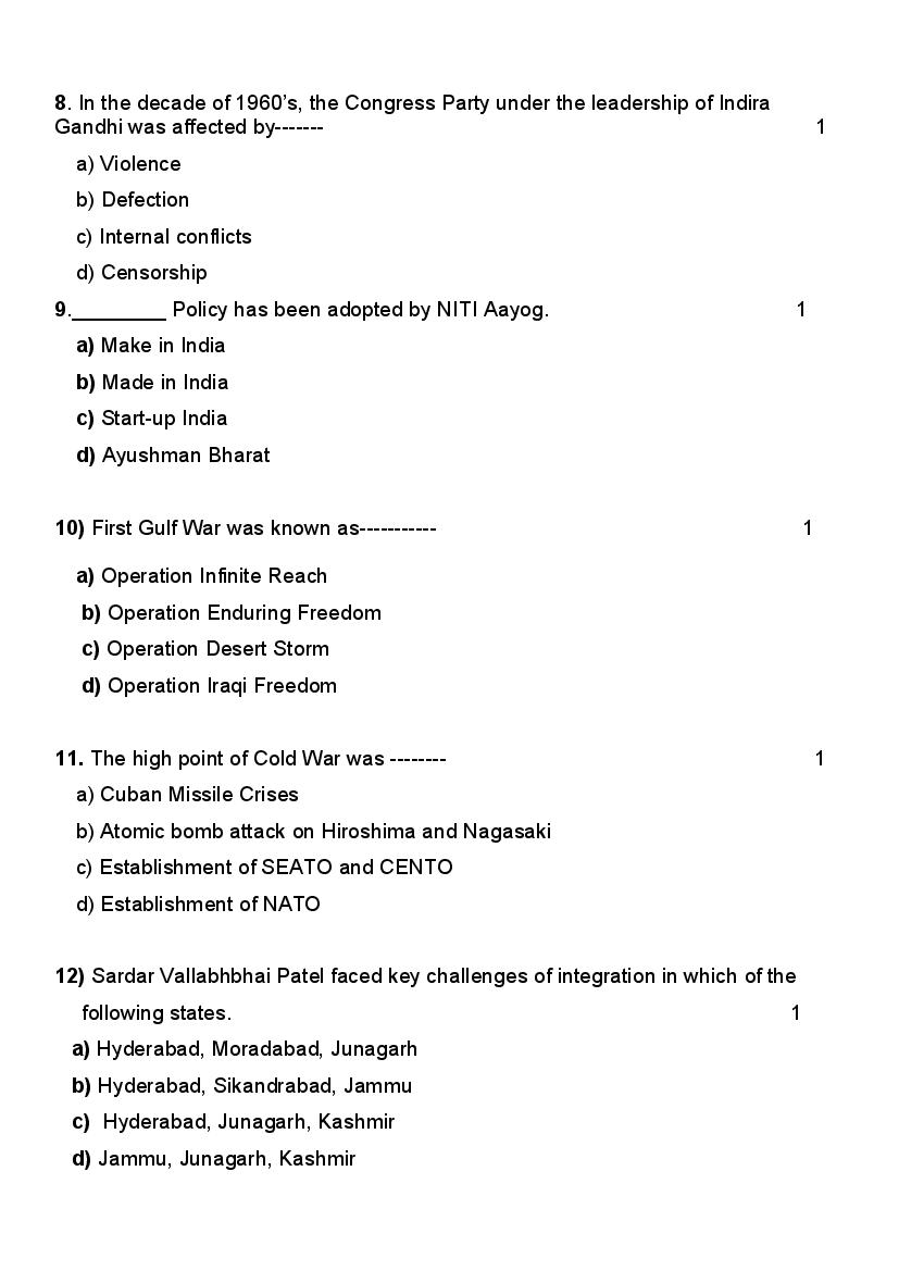 CBSE Sample Papers 2021 for Class 12 – Political Science