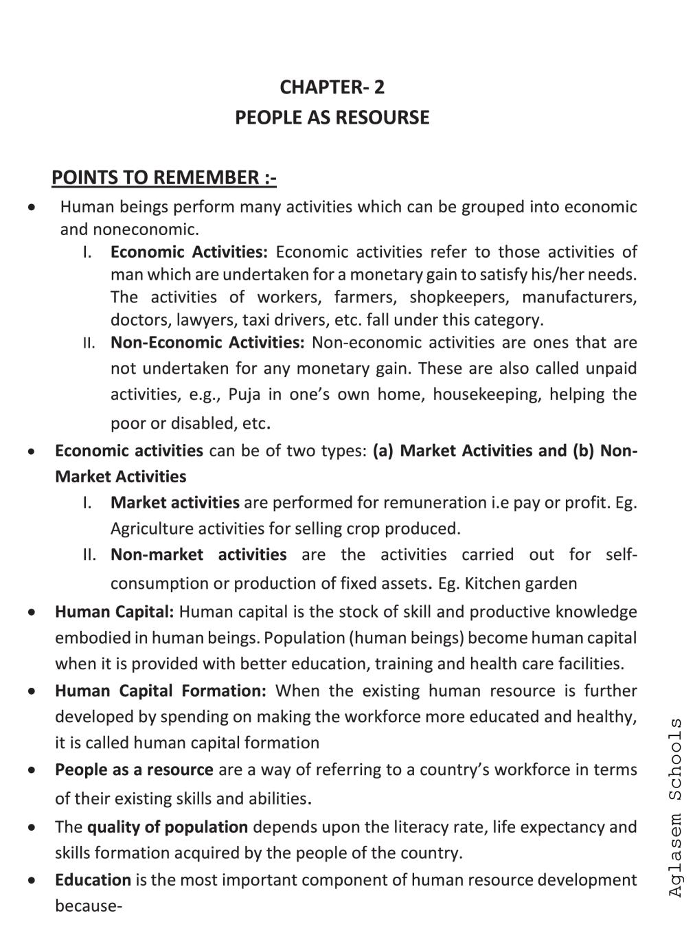 Class 9 Social Science (Economics) People as Resource Notes