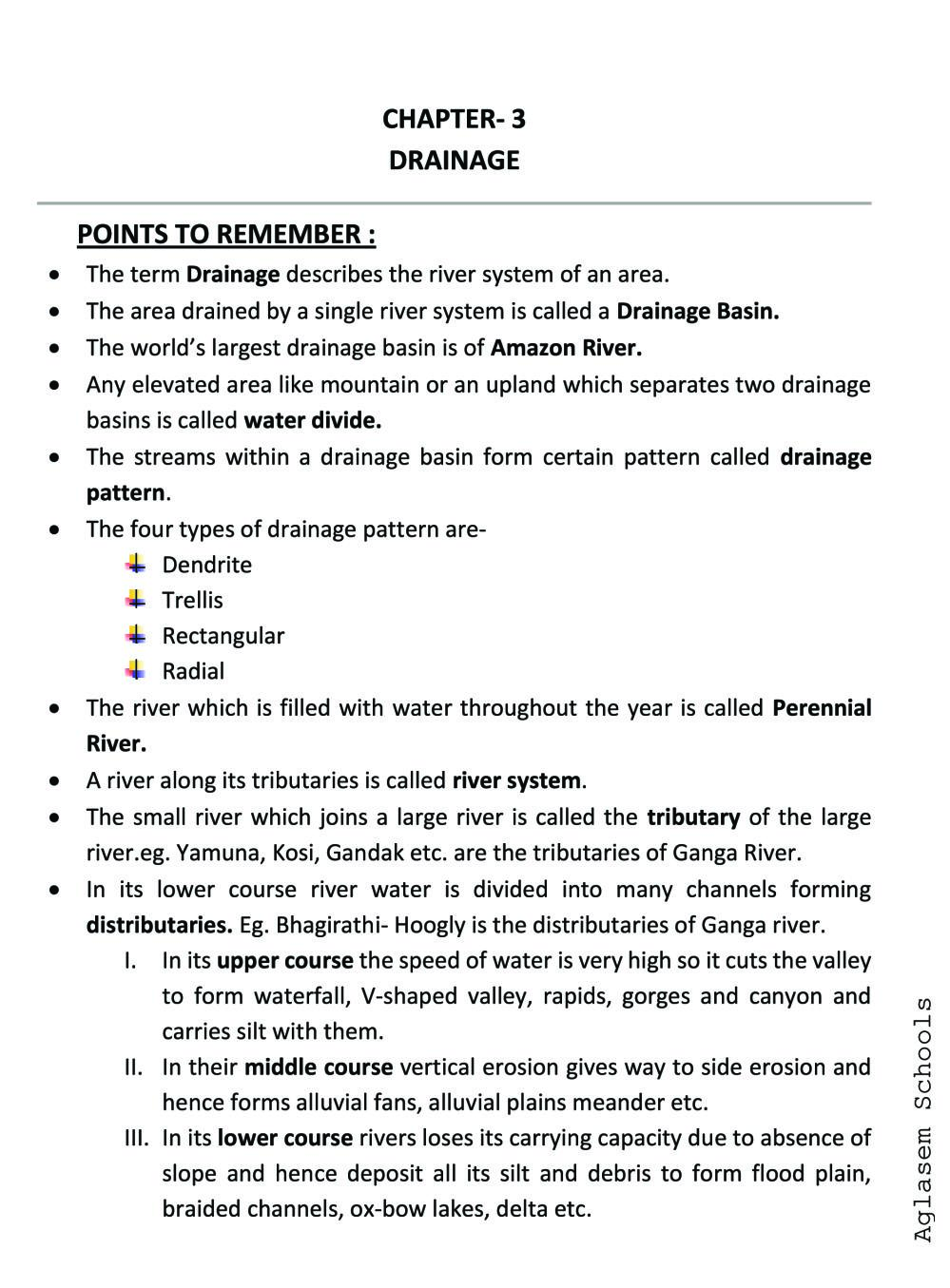 Class 9 Social Science (Geography) Drainage Notes, Important