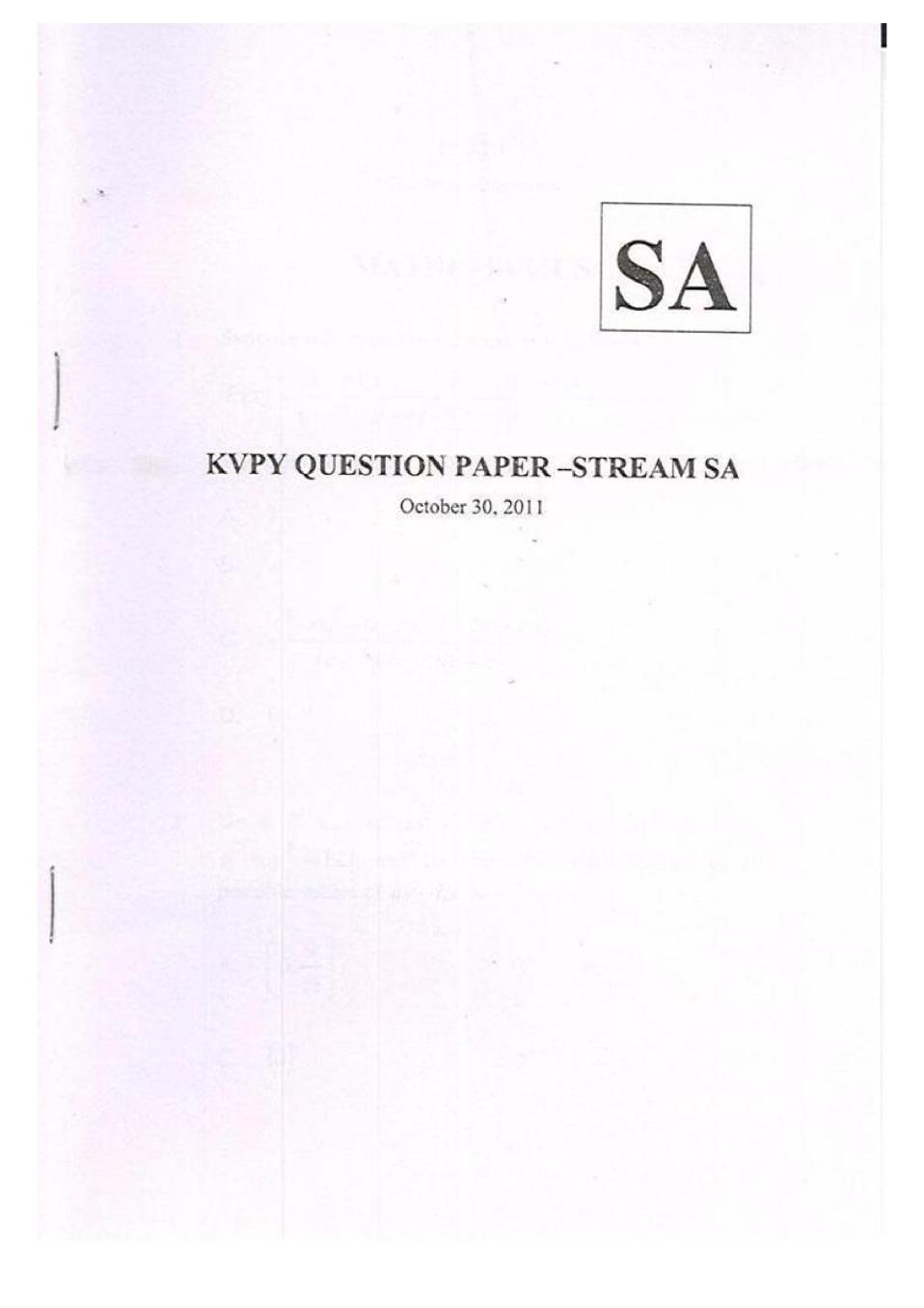 KVPY 2011 Question Paper & Answer Key for SA Stream