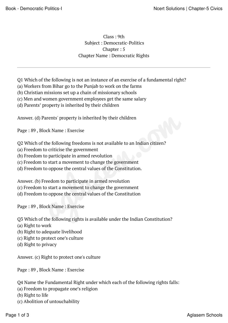 NCERT Solutions for Class 9 Social Science Civics Chapter 5