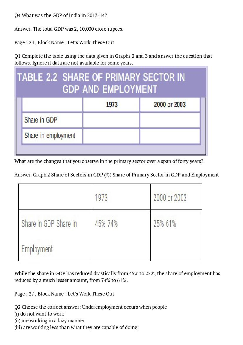 NCERT Solutions for Class 10 Social Science Econimics