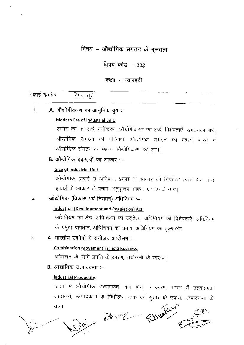 CGBSE 11th Syllabus 2020 for Basic Elements of Industrial Organization