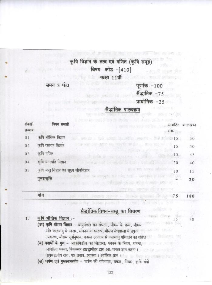 CGBSE 11th Syllabus 2020 for Elements and Mathematics of Agricultural Sciences