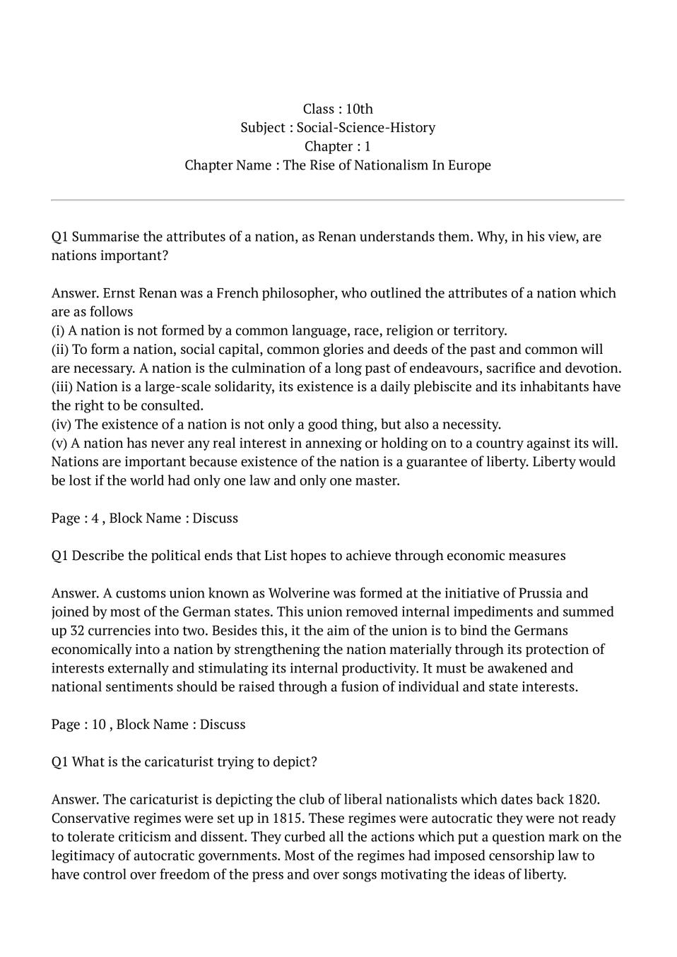 NCERT Solutions for Class 10 Social Science History Chapter