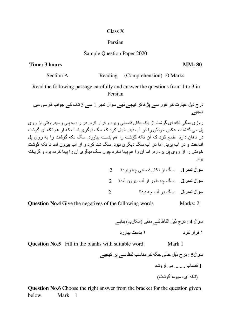 CBSE Sample Papers 2020 for Class 10 – Persian