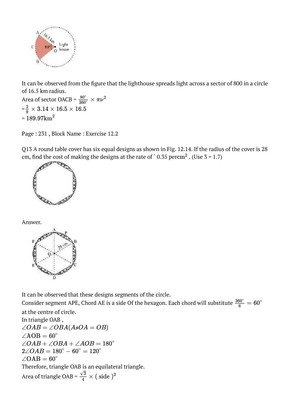NCERT Solutions for Class 10 Maths Chapter 12 Area Related