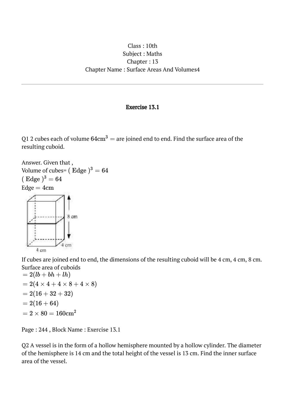 NCERT Solutions for Class 10 Maths Chapter 13 Surface Areas