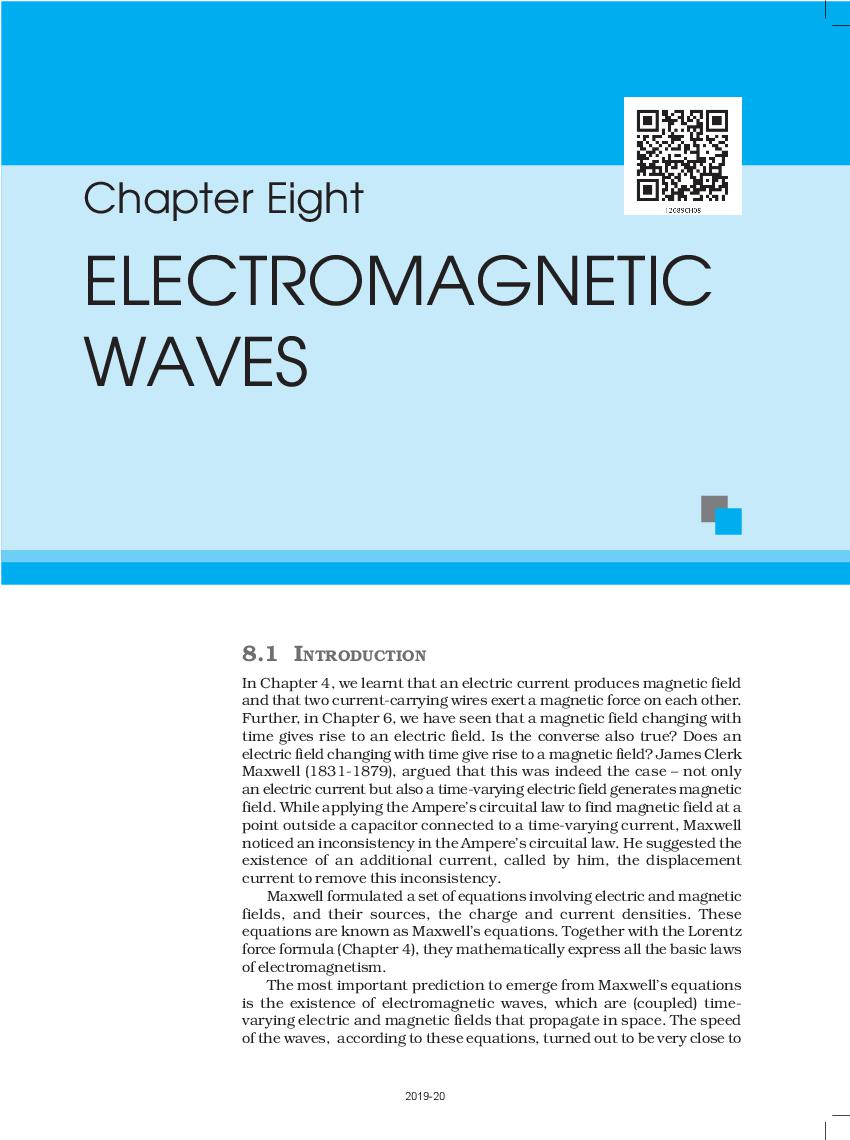 NCERT Book Class 12 Physics Chapter 8 Electromagnetic Waves
