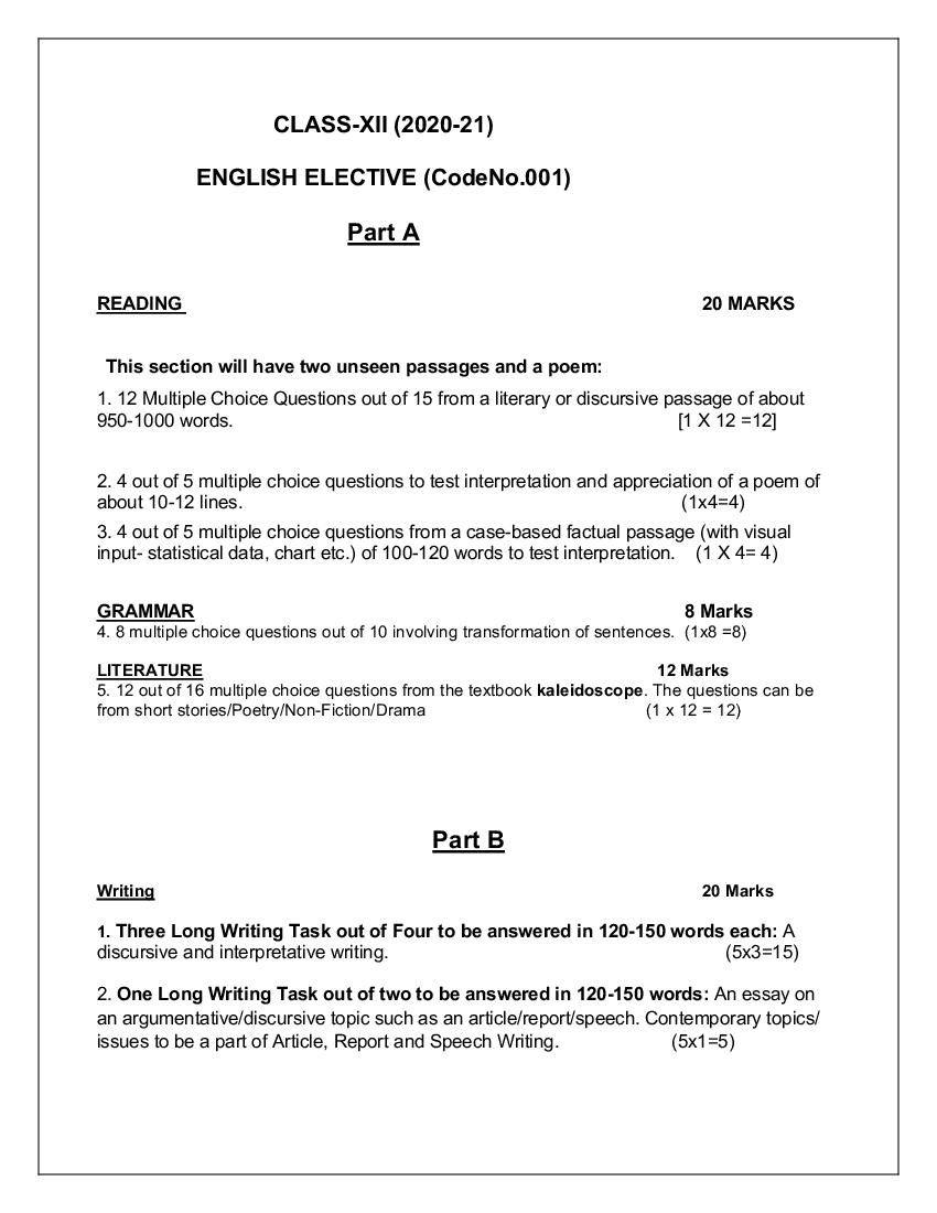 CBSE Syllabus for Class 12English 2020-21 [Revised]