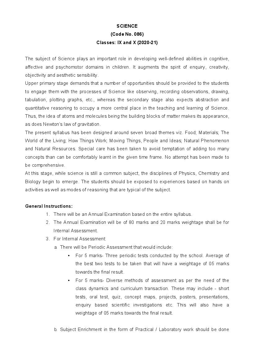 CBSE Syllabus for Class 9 Science 2020-21 [Revised]