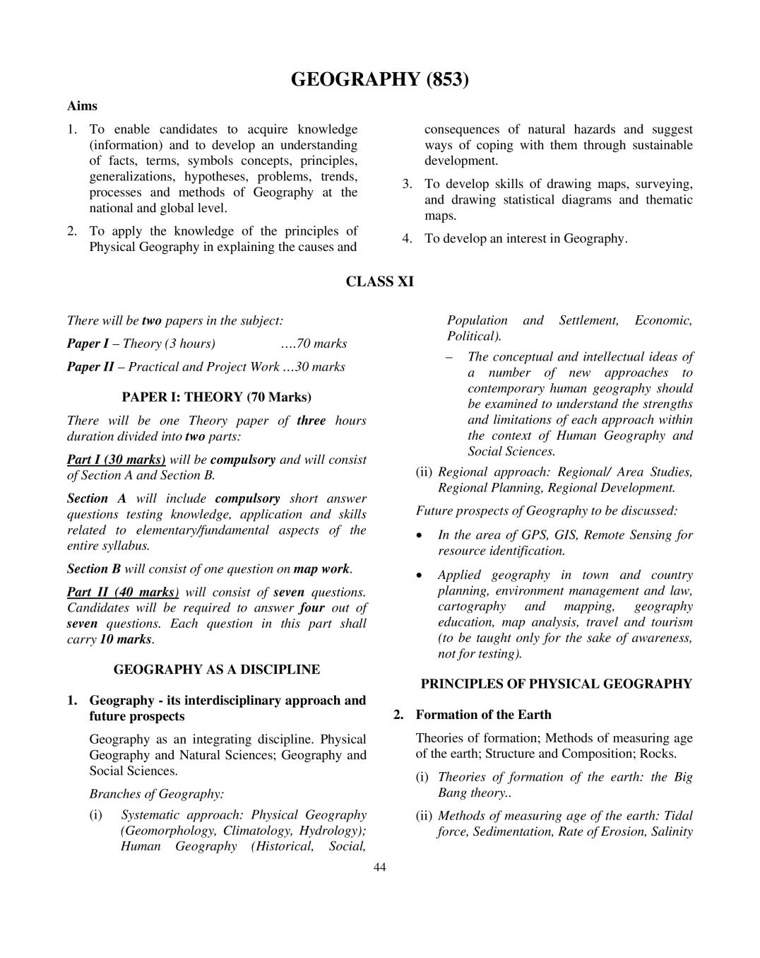 ISC Geography Syllabus 2020 - 2021 for Class 11, Class 12