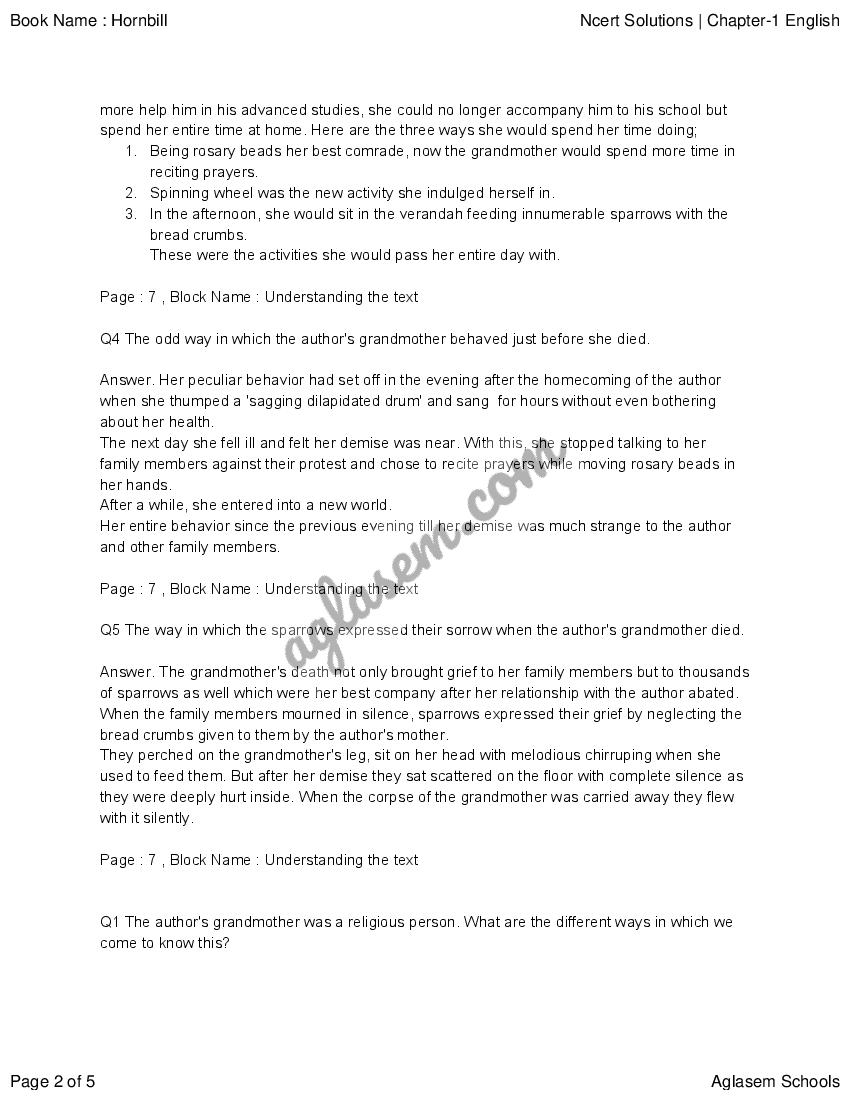 NCERT Solutions for Class 11 English (Hornbill) Chapter 1