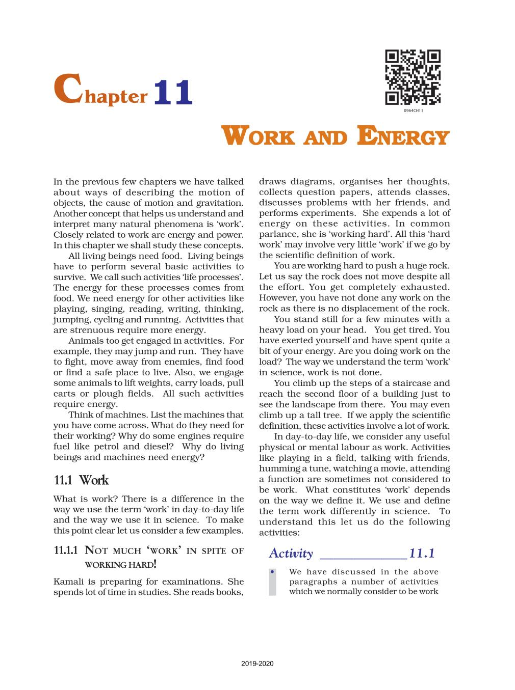 NCERT Book Class 9 Science Chapter 11 Work And Energy