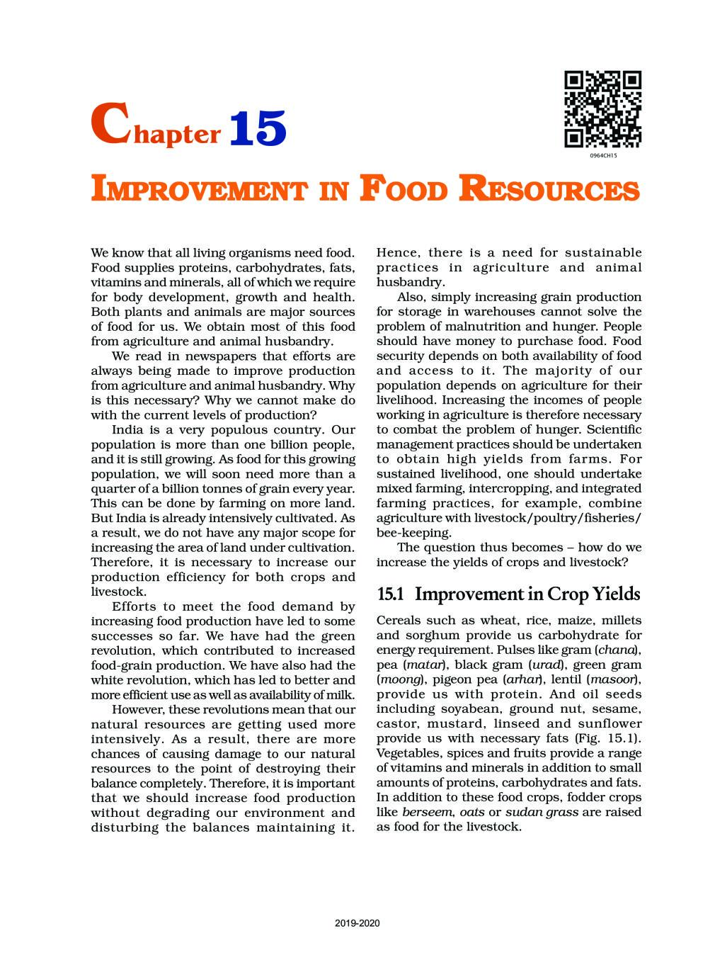 NCERT Book Class 9 Science Chapter 15 Improvement In Food Resources