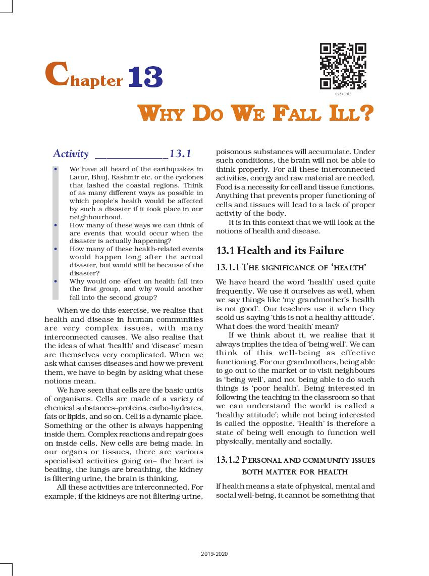 NCERT Book Class 9 Science Chapter 13 Why Do We Fall Ill?